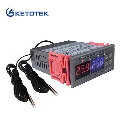 KETOTEK Digitaler Temperaturregler 230V 220V, Temperaturschalter STC-3008 Doppel Relais mit 2 Fühler, Heizung Kühlung Temperaturgesteuerte Regler für Inkubator