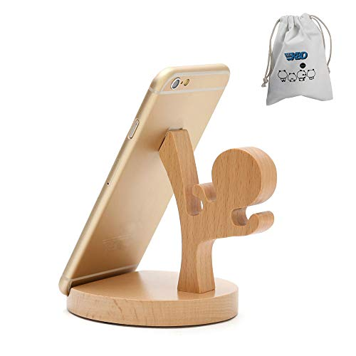 Cute Cell Phone Stand with Canvas Bag, MHKBD Wooden Phone Stand Cool Guy Cell Phone Holder Desktop Cellphone Stand Universal Desk Stand for Smart Phone iPad, Valentine's Day Gift, Karate