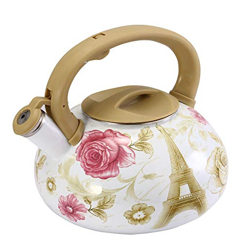 3.2L Kettle Enamel Flowers & Tower Teapot Kettle Used On Electromagnetic Stove/Gas Stove/Electronic Tube Heater Kitchen