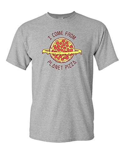 CreateMyTee | I Come from Planet Pizza | Men/Women Short Sleeve Funny Space Pizza Novelty T-Shirt (X-Large) Sport Grey