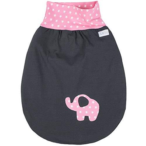 Lilakind Schlafsack Strampelsack Pucksack hochwertige Handarbeit Frühling/Sommer Grau Rosa Sterne Elefant 0-3 M