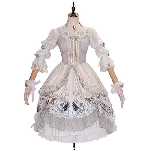 Rubyonly Tamaño Victorian Lolita Suave Dulce Plus Pink OP Vestidos de la Falda de la Vendimia impresión de Kawaii Loli niñas Vestido Lindo de la Princesa,L