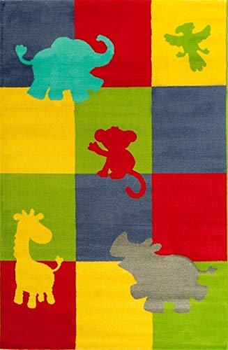 Kinderteppich / Kinder Teppich / Spielteppich / Babyteppich / Kinderspielteppich / Läufer Modell Lifestyle Kids / Hochwertiger Teppich Kinderteppich Zoo Tiere mehrfarbig Giraffe Nashorn Affe Elefant Papagei (120_x_170_cm)