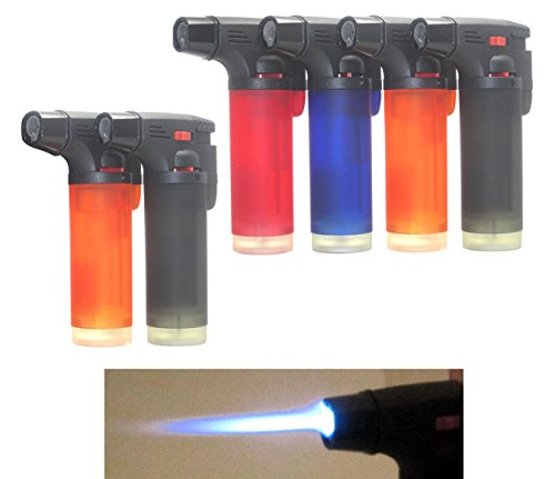 Pack of 6 Single Jet Flame Torch Lighter Windproof Refillable Cigarette Lighter (Jumbo)