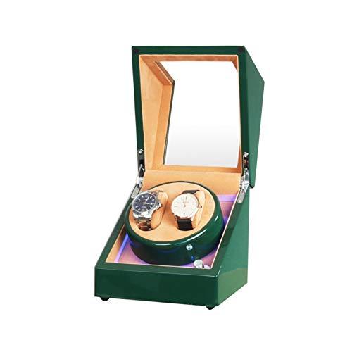 Cajón para guardar relojes y joyas Caja de bayador de doble reloj, con luz LED, EXTERIOR DE PINTURA PIANO DE PANO DE MADERA, Motor extremadamente silencioso, Relojes de señora y hombre. Estuche de alm