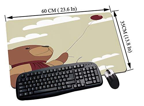 Gaming und Office Mauspad,Cartoon, Melancholischer Teddybär mit Schal und Luftballon Wolken am Himmel Clipart, Beige Zimt,mit vernähten Rändern und rutschfester unterseite60x35cm