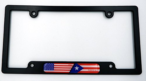 USA / Puerto Rico Black Plastic Car License plate frame