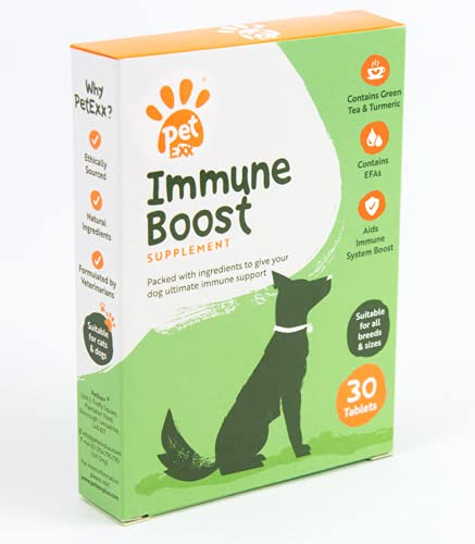 PetExx Immune Boost 30 tablets - multivitamin supplement with turmeric vitamin B12 CoQ10 Omega 3 Collagen & Green Tea - manufactured in the UK