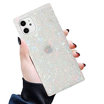 Manleno Compatible with iPhone 12 Case iPhone 12 Pro Case Marble Square Edges Glitter Slim Protective Phone Case Women Flexible TPU Silicone Rubber Case Shockproof Bumper Cover  Opal