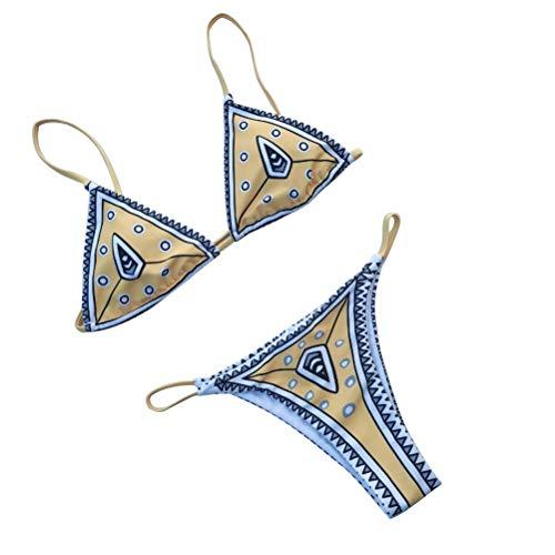 Mujer Chicas Sexy Bikini Moda Impresión Traje de baño de dos piezas Traje de baño Playa de verano Playa Tamaño S (Amarillo)