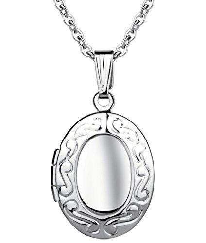Yumilok - Acero Inoxidable Medallón para Poner Fotos Dentro Amuleto Colores Plateados Rosa/Azul Collar Colgante para Mujeres Chicas