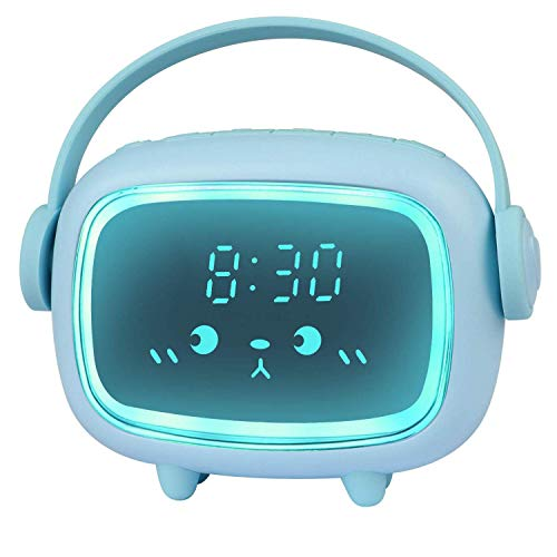Despertador Infantil, Relojes de Alarma Digitales para Niños y Niñas Alarma LED de Noche Que Brilla Intensamente Despertar Reloj de Cabecera Lindo Emoji Despertador Infantil