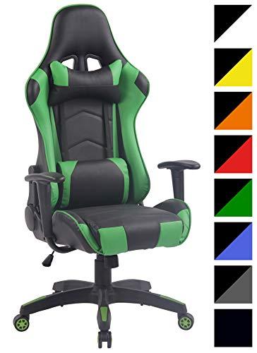 CLP Silla Racing Miracle V2 en Cuero PU I Silla Gaming Regulable en Altura I Silla Gamer con 2 Cojines Removibles I Silla Ordenador I Color: Negro/Verde