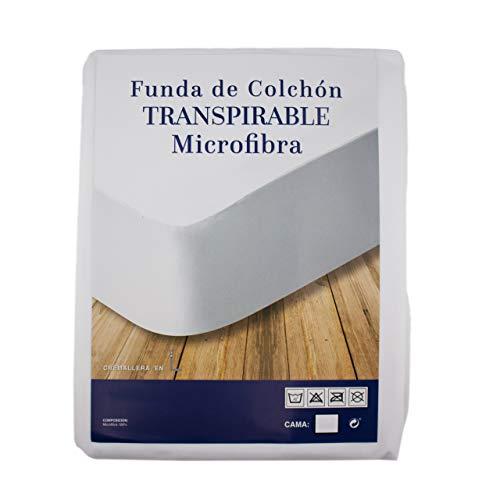 Protector de colchón Transpirable 100% Microfibra, Especial viscoelásticoy antiácaros con Cremallera Funda de Colchón - Talla 150 X 190 CM