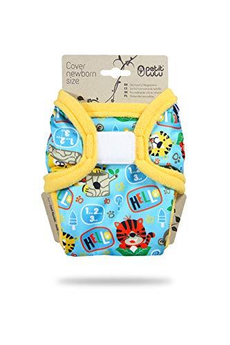 Petit Lulu pasgeborenen overbroek (2-6 kg) voor stoffen luiers klittenband Jungle op school