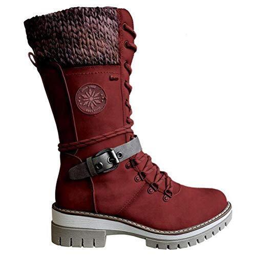 Yunobi Warme Damen-Stiefel – Winterschuhe, Stiefeletten, Outdoor-Stiefel, wasserdichte Stiefel, wadenhoch, niedriger Absatz, runde Zehenstiefel für Damen und Herren