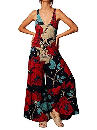 PDYLZWZY Mono casual suelto para mujer, talla grande, con estampado de esqueletos, correa ancha, pantalones con peto para Halloween, rojo, S