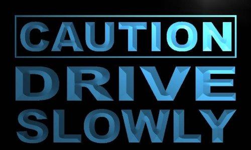 ADVPRO m557-b Caution Drive Slowly Neon Light Sign Barlicht Neonlicht Lichtwerbung