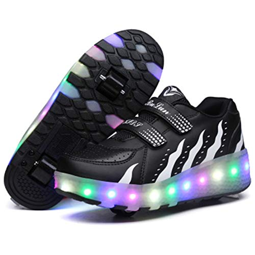 WFSH Unisex-Kinder-Rollschuhe LED leuchtende automatische Teleskop-Technologie Skateboard-Schuhe Multifunktionale Sportarten im Freien Skates Sportschuhe (Color : Black and White, Size : 31)