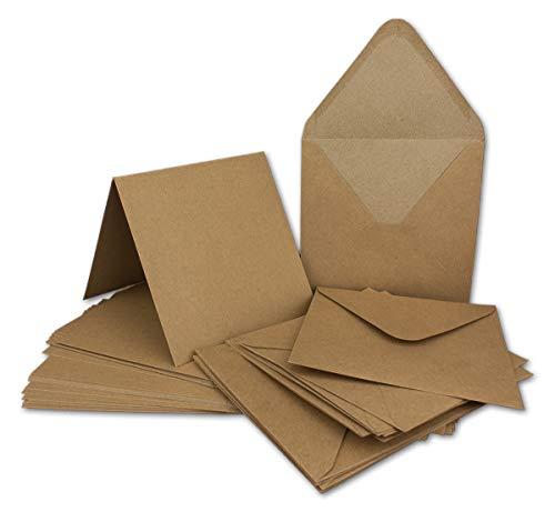30 Klapp-Karten Set Quadratisch Vintage Braun Recycling - 13,5x13,5 cm - 220 g/m² mit Brief-Umschlägen quadratisch - 14x14 cm - 90 g/m² Nassklebung