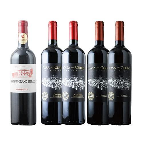 ワインショップソムリエ 金賞ボルドーと五大シャトー醸造家ワイン5本セット(赤ワイン5本)