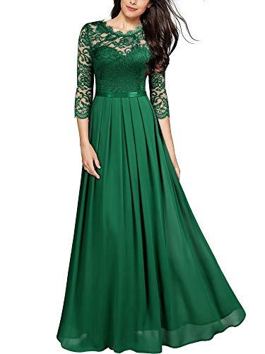 MIUSOL Damen Elegant Halbarm Rundhals Vintage Spitzenkleid Hochzeit Chiffon Faltenrock Langes Kleid Grün S