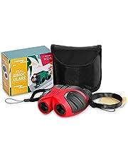 JRD&BS WINL Zabawka teleskopowa dla chłopców w wieku 3-12 lat, Best-Sun kompaktowa, wodoszczelna lornetka dla dzieci, prezent dla nastolatek, dziewczynek, prezent urodzinowy, zabawka dla dzieci na świeżym powietrzu (kolor czerwony)