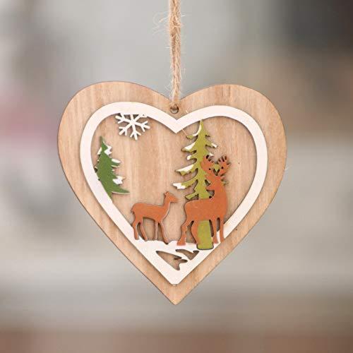 Kerstmis van hout hangende hanger Star Xmas Tree Bell kerstversiering voor Home Party New Year Navidad WSJKHY 1 x 2d hartje.