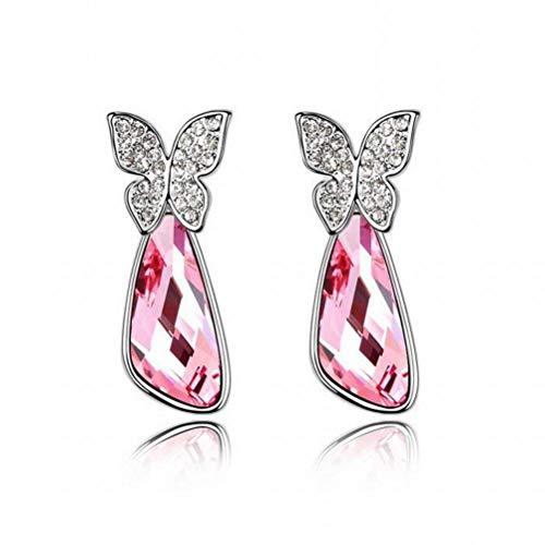 BinLZ Pendientes de Cristal Borrachos de Mariposa Retro Pendientes Geométricos, Rosa Claro