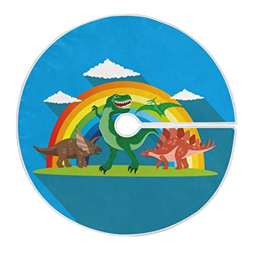 ALARGE Christmas Tree Skirt Funny Animal Dinosaur Rainbow 47.2 Inch Soft Xmas Tree Mat for Festival New Year Holiday Party Home Decoration Ornament