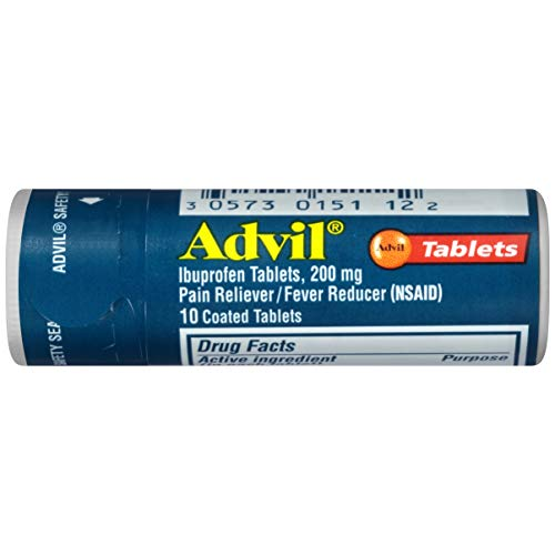 Advil Coated Tablets Pain Reliever and Fever Reducer, Ibuprofen 200mg, 10 Count Vial, Fast Pain Relief, Pocket Pack