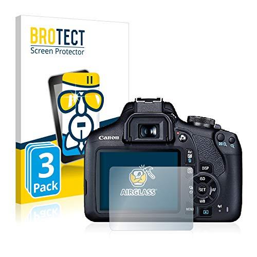 BROTECT Panzerglas Schutzfolie kompatibel mit Canon EOS 2000D (3 Stück) - AirGlass, 9H Festigkeit, Anti-Fingerprint, HD-Clear