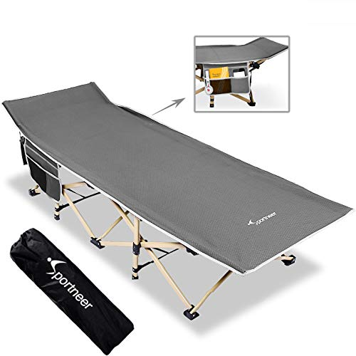 Sportneer Camping Cot, Max Load 450 LBS, 2 Side Large Pockets Portable Folding Camp Cots Sunbathing Lounger Bed with Carry Bag, for Camping, Beach, BBQ, Hiking, Backpacking, Office, Gray