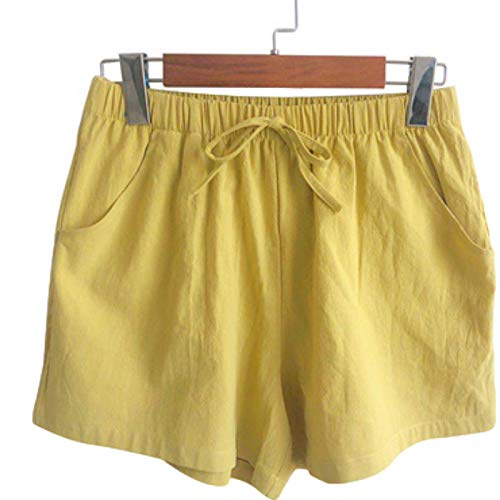 Pantalones Cortos para Mujer Verano Casual Moda Color sólido Cordón Cintura elástica Pantalones Cortos Casuales de Playa Pantalones Cortos cómodos de Todo fósforo L