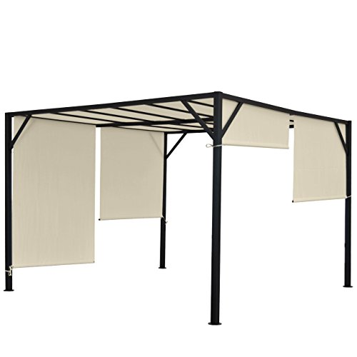 Mendler Pergola Baia, Garten Pavillon Terrassenüberdachung, stabiles 6cm-Stahl-Gestell + Schiebedach ~ 4x3m