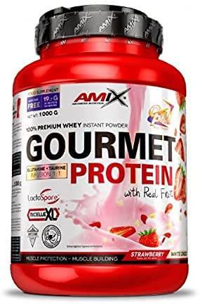 Amix - Gourmet Protein - Suplemento Alimenticio - Mejora del Rendimiento - Contiene Aminoácidos Bcaa - Glutamina en Polvo - Nutrición Deportiva - Sabor a Fresa-Choco Blanco - Bote de 1 Kg
