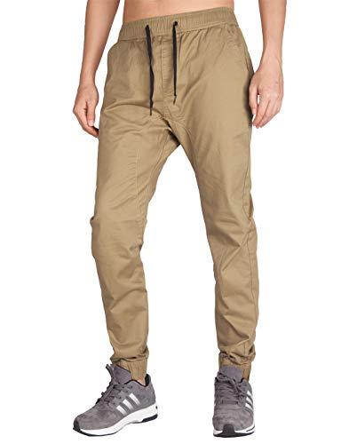 Italy Morn Herren Chinohose Jogginghose Casual Stoff Jogger Hose Slim Fit (XS, Khaki)