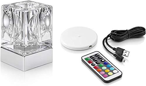 Oplaadbare draadloze kleurverandering & amp; wit licht LED glazen tafellamp (zuil)