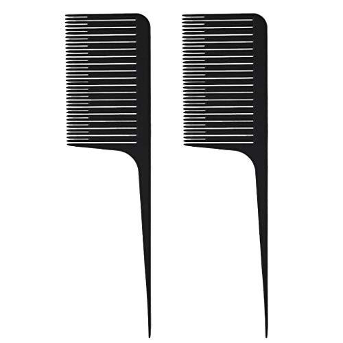 Sharplace 2pcs Tejido Destacando Foiling Hair Peine Salón Teñido Peines Herramienta Negro