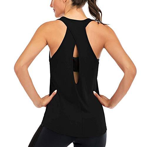 Superora Donna Canotta Sportivo Senza Maniche Gilet Incrociato Loose Racerback Yoga Fitness Gym Tank Top