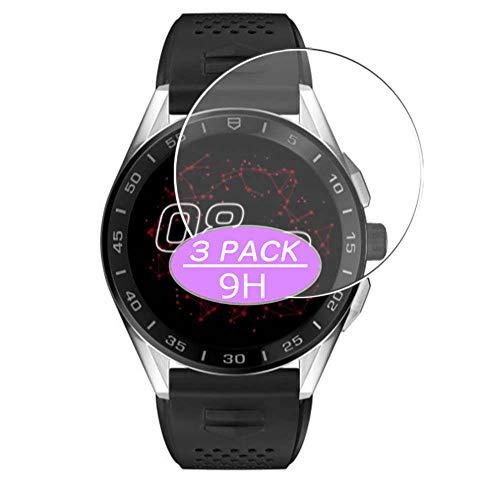 VacFun 3 Piezas Vidrio Templado Protector de Pantalla, compatible con Tag Heuer Connected (3 Gen) 45mm, 9H Cristal Screen Protector Protectora Reloj Inteligente NEW Version