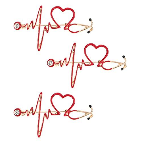 VALICLUD 3Pcs Stethoskop Brosche Pins Elektrokardiogramm Herzförmigen Pin Persönlichkeit Doktor Nurse Medizin Enamellapel Pin Schul Rucksack Kappe Top Abzeichen