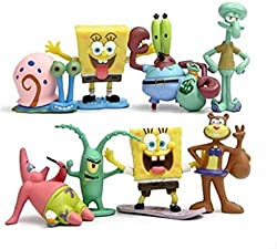 Approx 1.18-2.56 inches(3-6.5cm), size varied by characters. Perfect for Cakes or Cupcakes. Great Decorations or party favors. These SpongeBob Figures are made from durable and waterproof PVC. 8 piece SpongeBob Figures, including Squidward, Sandy Che...