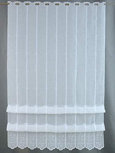 Clever-Kauf-24 Cliprollo Ranke Bestickt weiß mit Höhe 145cm (ungerafft) | Breite der Gardine frei wählbar in 8cm Schritten | Gardine | Panneaux |