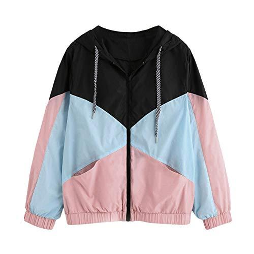 iHENGH Damen Herbst Winter Jacke Warm bequem Langarm Patchwork mit Kapuze Reißverschluss Taschen Lässig Sport Mantel(EU-42/CN-S,Rosa)