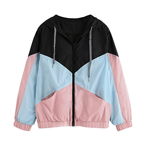 iHENGH Damen Herbst Winter Jacke Warm bequem Langarm Patchwork mit Kapuze Reißverschluss Taschen Lässig Sport Mantel(EU-44/CN-M,Rosa)