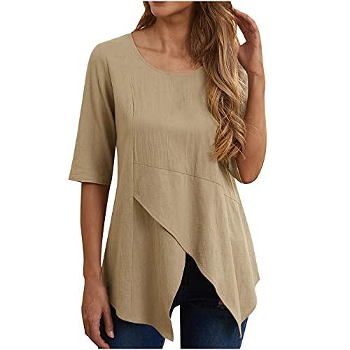 Verano Tops Blusas para mujeres Reino Unido Liquidación Venta Señoras Verano Casual Irregular Cuello Redondo Manga Corta Sólida Camisa Suelta Tops Túnica de Negocios Camisetas de Oficina Promoción