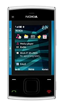 Nokia X3 Slider GSM Quad-Band Unlocked Cell Phone with 3.5 MP Camera and 2 GB SD Slot Memory -- U.S Version with Warranty  Blue