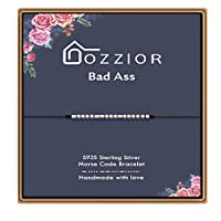 DOZZIOR モールスコードブレスレット インスピレーションギフト スターリングシルバービーズ ナイロンコード ジュエリーギフト 調節可能 彼女/女の子/女性に