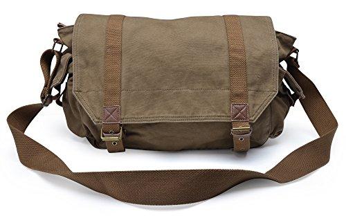 Gootium Vintage Canvas Shoulder Classic Satchel Handbag/Messenger Bag Men's, 40 cm, Army Green
